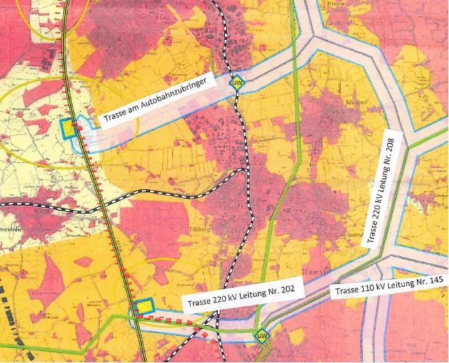 Entlang des Autobahnzubringers oder durch Ulzburg-Süd? Der Eindruck am Montag im Ratssaal: Die Tennet bevorzugt die südliche Variante. Die gelben Flächen an der Autobahn sind mögliche Standorte für ein ebenfalls geplantes Umspannwerk