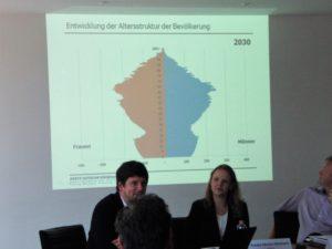 Alterspyramide 2030 für den Kreis Segeberg - vorn Martin Albrecht und stellvertretende Ausschussvorsitzende Annika Ahrens-Glismann