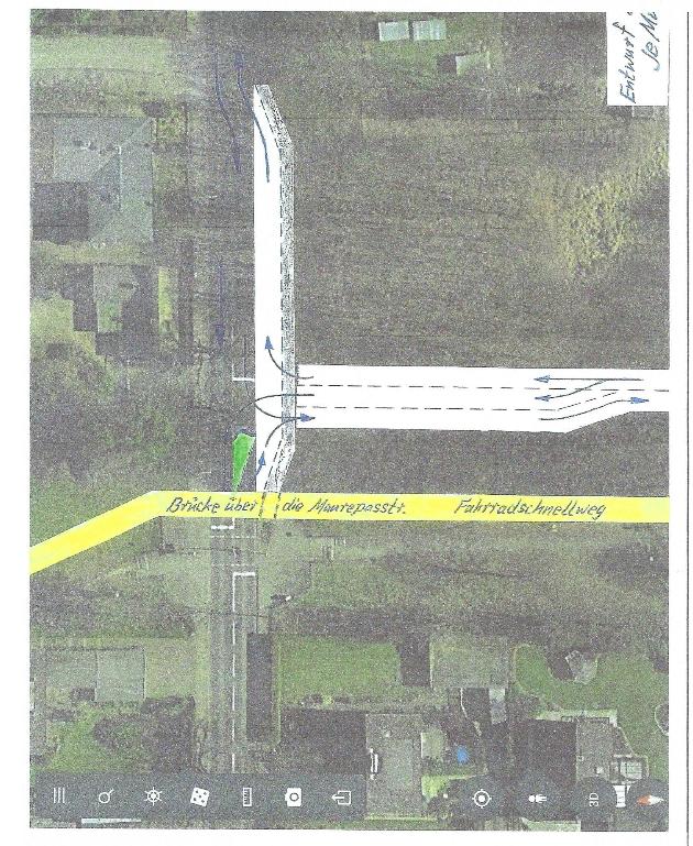 So könnte die Einfädelung in die neue Querspange von der Maurepasstraße aussehen, daneben der Fahhradschnellweg. Quelle: Antrag von CDU, BFB und FDP