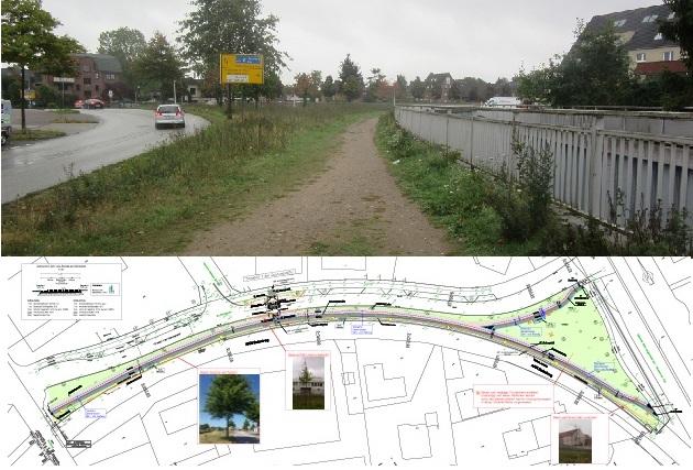 Zukünftig soll es an beiden Seiten der Straße 'Am Bahnbogen' einen Geh- und Radweg geben. Das haben CDU, SPD und eine von zwei BFB-Stimmen durchgesetzt