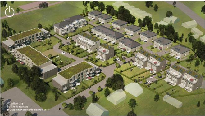 Das Baukonzept: Die begrünten Häuser links sind die Sozilawohnblocks